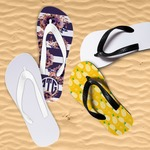 Personalized Flip-Flops for Kids - Youth Large White, Black Base and White, Black Pink Straps
